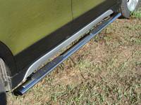 Пороги овальные с накладкой 75х42 мм для Suzuki SX4 (2014 -) ТСС SUZSX414-05