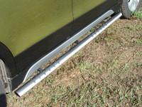 Пороги овальные с проступью 75х42 мм для Suzuki SX4 (2014 -) ТСС SUZSX414-06