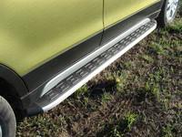Пороги алюминиевые с пластиковой накладкой для Suzuki SX4 (2014 -) ТСС SUZSX414-08