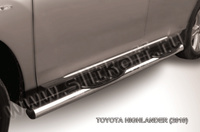 Пороги d76 с проступями для Toyota Highlander (2010 -) Слиткофф THI008