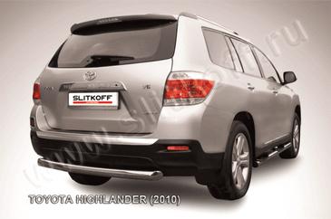 Защита заднего бампера d76 радиусная для Toyota Highlander (2010 -) Слиткофф THI012