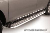 """Пороги d57 с листом (чёрный """"квинтет"""") для Toyota Highlander (2010 -) Слиткофф THI018"""