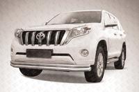 Защита переднего бампера d76/d57 двойная длинная для Toyota Land Cruiser Prado 150 (2014 -) Слиткофф TOP14-006