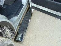 Пороги овальные с накладкой 120х60 мм на Toyota Highlander (2010 -) ТСС TOYHIGHL10-06