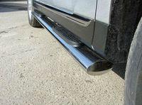 Пороги овальные с накладкой 75х42 мм на Toyota Highlander (2010 -) ТСС TOYHIGHL10-11