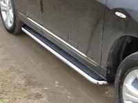 Пороги с площадкой (нерж. лист) 60,3 мм для Toyota Highlander (2010 -) ТСС TOYHIGHL10-13