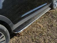 Пороги с площадкой (нерж. лист) 42,4 мм для Toyota Land Cruiser 200 (2007 -) ТСС TOYLC200-08