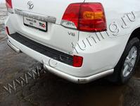 Защита задняя (уголки овальные) 75х42 мм на Toyota Land Cruiser 200 (2012 -) ТСС TOYLC20012-07