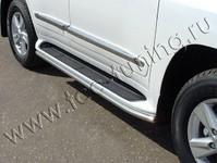 Защита порогов 42,4 мм (аналог Lexus LX570) на Toyota Land Cruiser 200 (2012 -) ТСС TOYLC20012-11