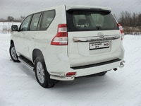 Защита задняя (уголки двойные) 76,1х42,4 мм для Toyota Land Cruiser Prado 150 (2013 - ) ТСС TOYLCPR15013-04