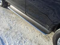 Пороги с площадкой (нерж. лист) 42,4 мм для Toyota RAV4 Long (2010 -) ТСС TOYRAVLONG10-05