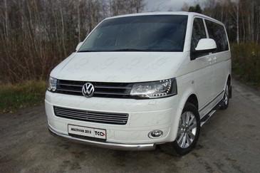 Защита передняя нижняя (овальная) 75х42 мм для Volkswagen Multivan (2013 -) ТСС VWMULT13-03