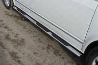 Пороги овальные с накладкой 75х42 мм для Volkswagen Multivan (2013 -) ТСС VWMULT13-05