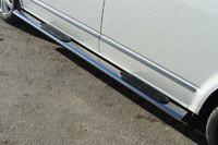 Пороги овальные с накладкой 120х60 мм для Volkswagen Multivan (2013 -) ТСС VWMULT13-06