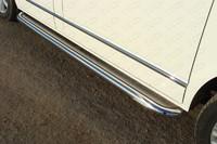 Пороги с площадкой (нерж. лист) 60,3 мм для Volkswagen Multivan (2013 -) ТСС VWMULT13-09