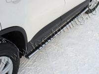 Пороги овальные с проступью 75х42 мм на Volkswagen Tiguan (2011 -) ТСС VWTIG11-04