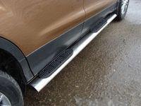 Пороги овальные с накладкой 75х42 мм на Volkswagen Tiguan (2011 -) ТСС VWTIG11-08