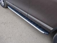 Пороги алюминиевые с пластиковой накладкой для Volkswagen Touareg (2010 -) ТСС VWTOUAR10-11